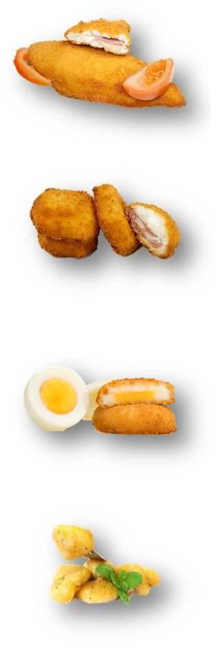 Huevo bechamel, delicia de Lomo, poton rebozado